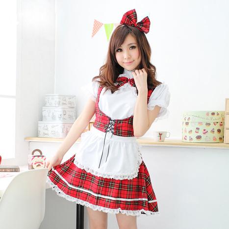 Naughty Japanese School Maid Plaid Uniform Costume   Favorite Costumes   Scoop.it
