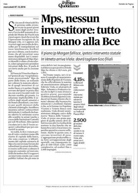 Mps, nessun investitore: tutto in mano alla Bce (il Fatto Quotidiano) | Monte dei Paschi ... di Siena ? | Scoop.it