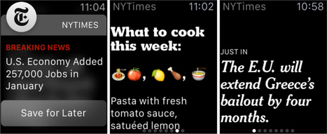 New York Times Will Deliver One-Sentence News Stories To Apple Watch | Multimedia Journalism | Scoop.it
