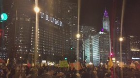 """No hate, no fear, immigrants are welcome here!"" #Trump protest in Chicago 