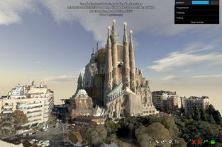 Templo de la Sagrada Familia y barrio del Eixample en 3D