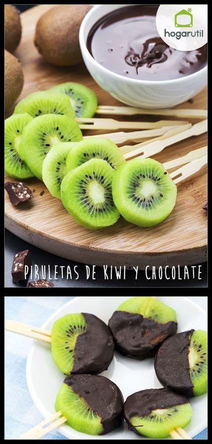 Receta de Piruletas de kiwi y chocolate - Hogarutil | Alimentos | Scoop.it
