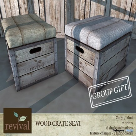 Wood Crate Seat Group Gift by Revival | Teleport Hub - Second Life Freebies | Second Life Freebies | Scoop.it