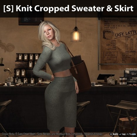 [S] Knit Cropped Sweater and Skirt Group Gift by [satus Inc] | Teleport Hub - Second Life Freebies | Second Life Freebies | Scoop.it