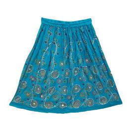 moguinterior Dodger Blue Skirt Sequin Allover Beaded Boho Mid Length Skirts - Clothing - Women's - Skirts | Bohemian Harem Pant | Scoop.it