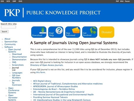 A Sample of Journals Using Open Journal Systems | Public Knowledge Project | information analyst | Scoop.it