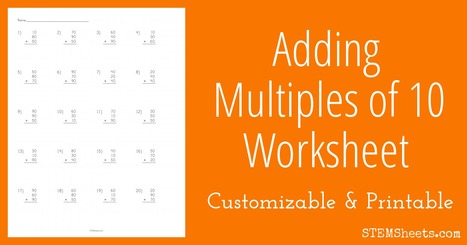 Adding Multiples of 10 Worksheet | Math Worksheets and Flash Cards | Scoop.it