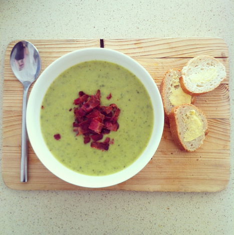 Courgette, basil and parmesan soup with crispy smoked bacon | johnsons kitchen | Scoop.it