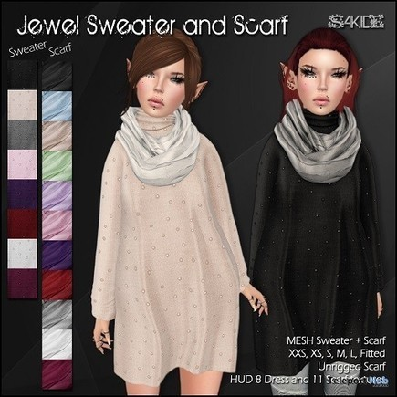 Jewel Sweater and Scarf Midnight Madness 24 Hour Gift by SAKIDE | Teleport Hub - Second Life Freebies | Second Life Freebies | Scoop.it