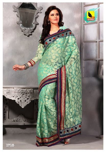 Sea green colored party wear saree. | Indian Women Clothing | Scoop.it