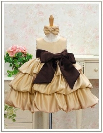 Golden Brown Sleeveless Baby Girl Party Dress with Bow in India | Online Baby Accessories | Scoop.it
