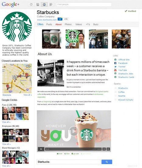 Google+ Brand Page Concept - Starbucks exemple | Brand Marketing & Branding | Scoop.it