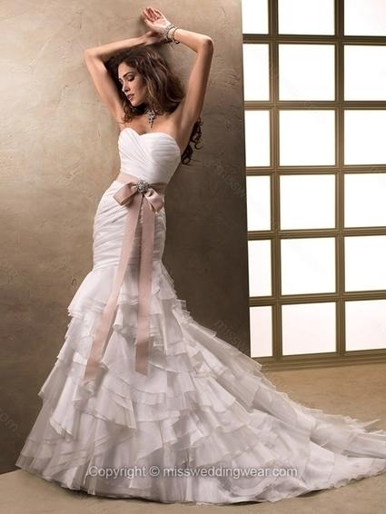 Trumpet/Mermaid Sweetheart Organza Satin Court Train Tiered Wedding Dresses   2014 wedding dress online   Scoop.it