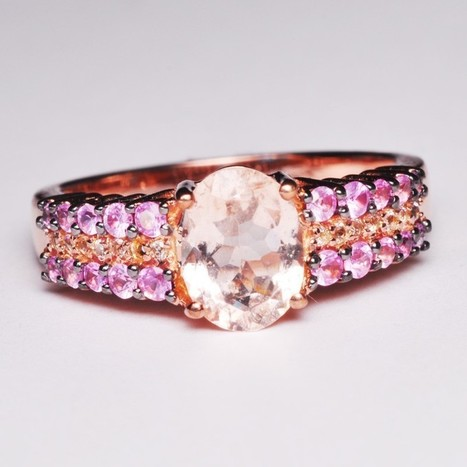 Oval Morganite and Round White Topaz silver Ring | Tanzanite Jewelry | Scoop.it