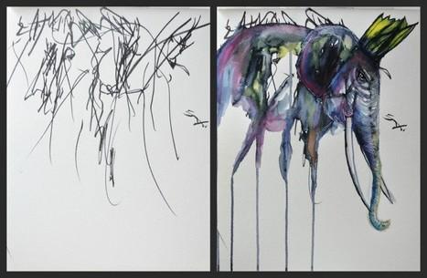 Des peintures à partir des gribouillis de sa fille   [Art] - artist's point of view, creative process &  interesting pieces   Scoop.it