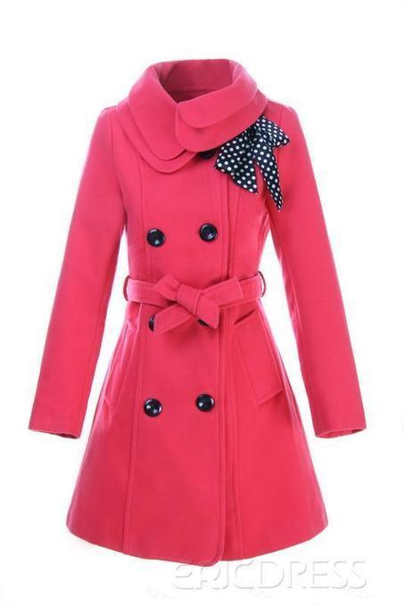 $ 46.29 Latest Turn-down Collar Bowknot Slim Woolen Trench Coats   FASHION-BEAUTY-CLOTHES-GIRL   Scoop.it