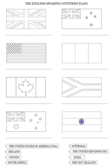 Drapeaux et carte des pays anglophones à colorier et compléter, cycle 3 | Découvertes de SitesPE | Scoop.it