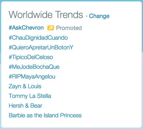 #AskChevron Is Trending On Twitter, But Chevron Isn't Answering | Digital-News on Scoop.it today | Scoop.it
