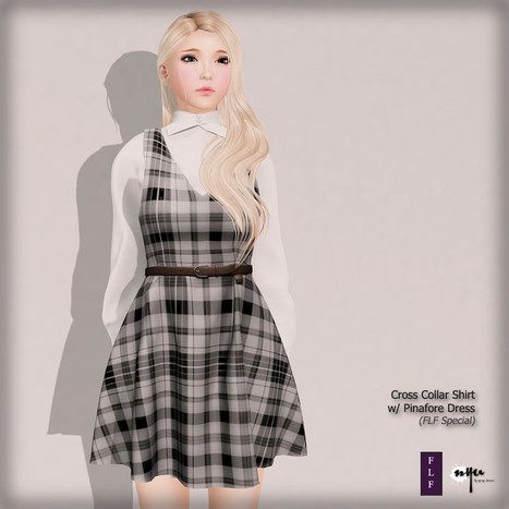 Cross Collar Shirt & Pinafore Dress, Monotone Checkers | 亗 Second Life Freebies Addiction & More 亗 | Scoop.it
