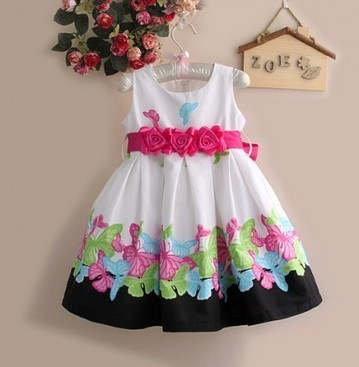 Elegant Infant Girl Dress in White With Butterfly Pattern and Belt | Online Baby Accessories | Scoop.it