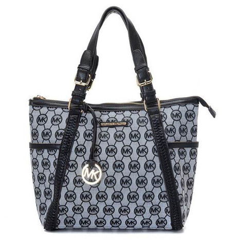Michael Kors Whipped Large Zip-top Monogram Tote with Grey Black   share and want   Scoop.it
