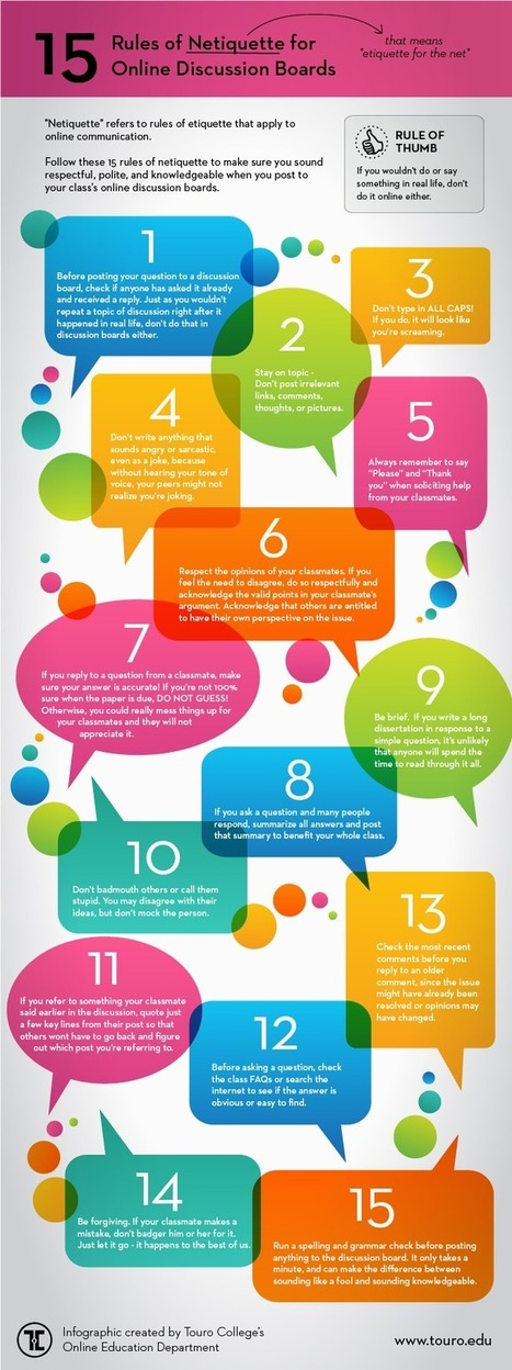 15 Rules of Netiquette for Online Discussion Boards [INFOGRAPHIC] - Online Education Blog of Touro College | Ensinar e Aprender no séc. 21 (Teaching and Learning in the 21st century) | Scoop.it
