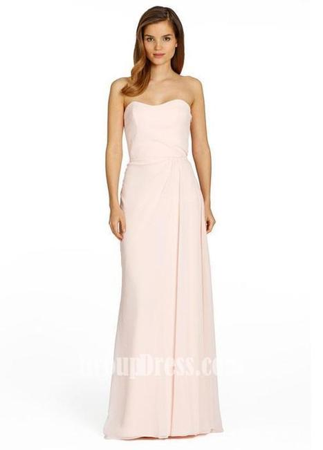 Coral Chiffon A-line Strapless Long Bridesmaid Gown with Side Draped Detail | Woman Wedding Dresses | Scoop.it