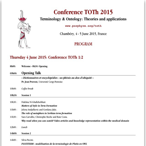 Conference TOTh 2015 Terminology & Ontology: Program | terminology news | Scoop.it
