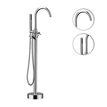 Ceramic Valve Two Handles Chrome Finish Contemporary Floor Mounted Floor Standing Bathtub Faucet-- Faucetsmall.com | Shower Faucets & Bathtub Faucets | Scoop.it