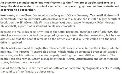 Researcher to Demonstrate Attack on Apple EFI Firmware | CyberSecurity | Apple, Mac, iOS4, iPad, iPhone and (in)security... | Scoop.it