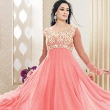 Peach Pure Georgette Shweta Tiwari Salwar Kameez | Strollay.com | Scoop.it