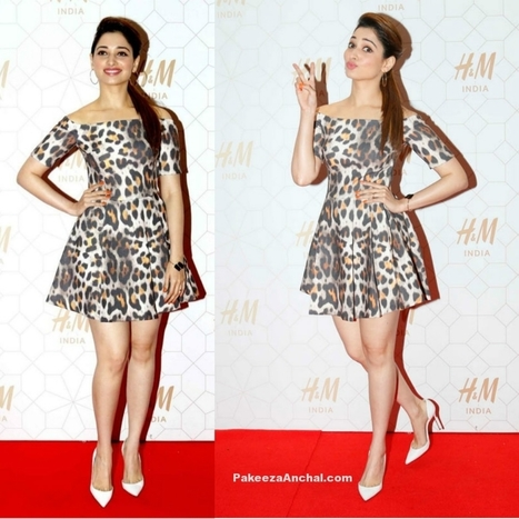 Tamanna Bhatia in Leopord Print H&M Skirt at H&M Store launch | Indian Fashion Updates | Scoop.it