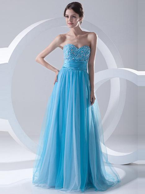 A-line Floor-length Beading Organza Evening Dress : KissChic.com | Kisschic Fashion Dresses | Scoop.it