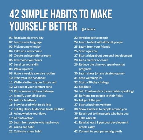 42 Simple Habits to Make Yourself Better | MILE Development | Scoop.it
