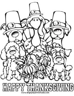 Free Printable Thanksgiving Coloring Page for Kids and Dog Lovers! | Coloring pages | Scoop.it