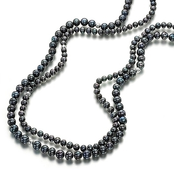 Double strand black round pearl long necklace | Pearls & Fashion | Scoop.it