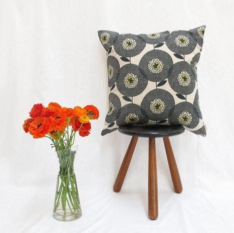 Cushion cover 50x50cm  Flower Field in Penny Black by skinnylaminx | homedecor | Scoop.it