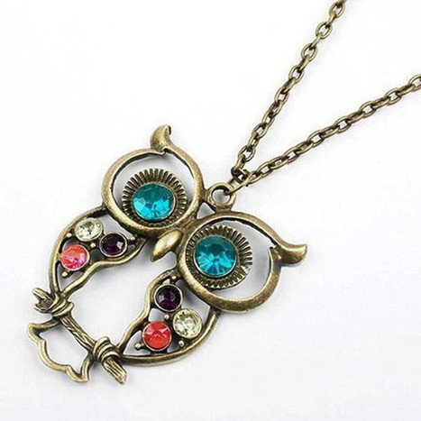 Vintage Rhinestone Crystals Owl Pendant Necklace   Online Shopping   Scoop.it