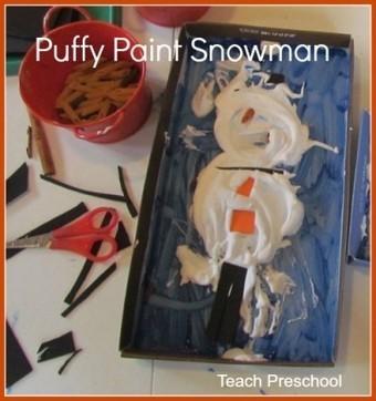 Making puffy paint snowmen in preschool | Eveil ludique | Scoop.it