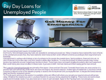 Pay Day Loans for Unemployed people | Pay day Loans for Unemployed People | Scoop.it