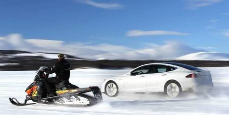 Tesla Model S P85D - We couldn't believe our eyes - Can the new Tesla really outrace a snowmobile? | Investing in Renewable Energy | Scoop.it