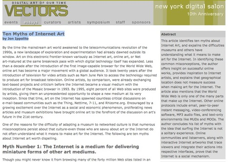 Ten Myths of Internet Art by Jon Ippolito 2002 | Art en Réseau | Scoop.it