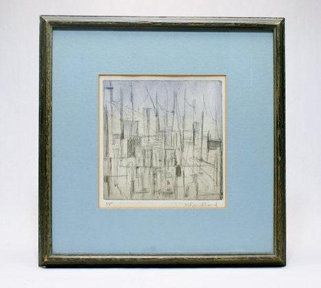 Debra Friedland Modernist Etching Framed under Glass Fine Art Abstraction from 1960s Cityscape Eames Expressionist Painting   S U B L I M E * D E S I G N   Scoop.it