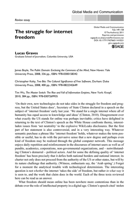 Review essay: The struggle for internet freedom | Digital Protest | Scoop.it