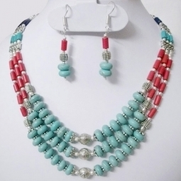 Buy Party Wear Turquoise & Red Ceramic Beads Online Store - Chennai | Shopping | Scoop.it