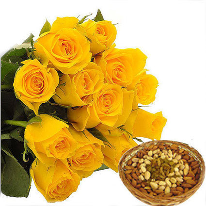 Yellow Roses With Dry-fruits - Blossom Square | BlossomSquare online flowers delivery system | Scoop.it