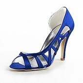 Peep Toes Cut Out Blue Satin Wedding Sandals | fashion shoes | Scoop.it