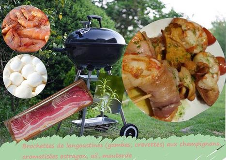 Recette de brochettes de langoustines (ou gambas, crevettes) aux champignons, parfum estragon | Street food : la cuisine du monde de la rue | Scoop.it