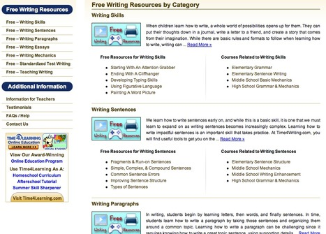 Free Writing Resources | Time4Writing | Teachning, Learning and Develpoing with Technology | Scoop.it
