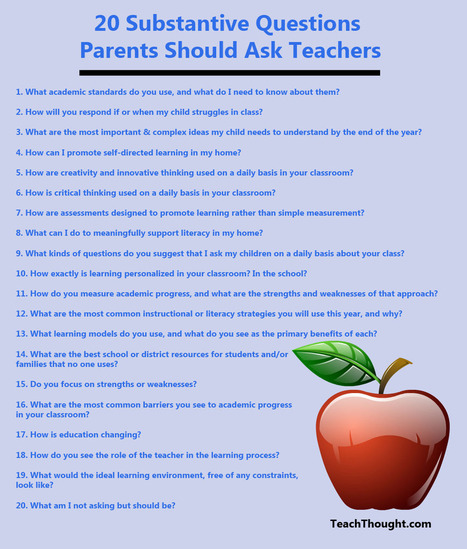 20 Questions Parents Should Ask Teachers | Special Science Classroom | Scoop.it